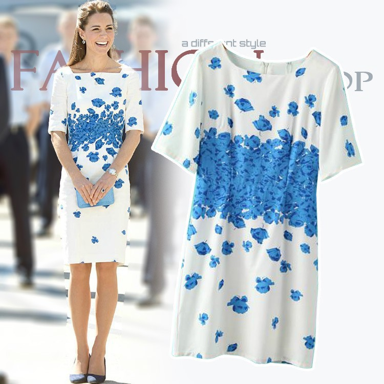 2014-New-European-Style-woman-fashion-elegance-blue-flroa-print-casual-evening-dress-WD0336