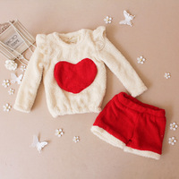 Preorder! Retial Autumn winter Children's Chrismas set kid Girls long sleeve big heart t-shirt + shorts  LittleSpring GLZ-T0334