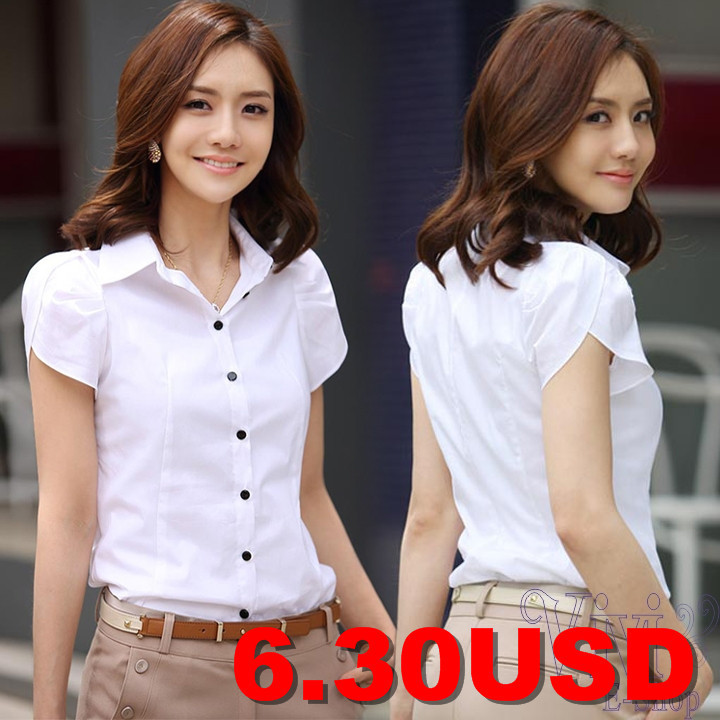 Sexy-OL-Women-Fashion-Shrug-Bubble-Short-Sleeve-Slim-Cotton-Shirt-Blouse-Top-Puff-Sleeve-Career