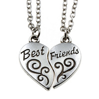 2PC/Set Puzzle Party Women Men Charm Gift Hot Sale Heart Flower BFF Best Friend Letter Necklace Pendant Friendship