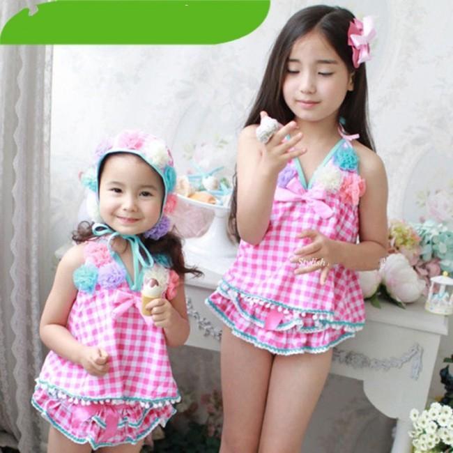 EMS-DHL-Free-shipping-blossom-flower-kid-girl-beachwear-Pink-Flower-swimsuit-bikini-checker-Swimwear-Korea