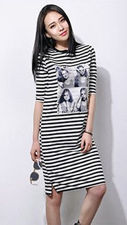2015-Summer-Dress-New-Style-Women-S-O-Neck-Beaded-Beauty-Printed-White-And-Black-Striped