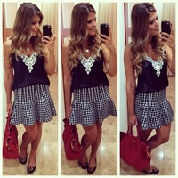 Hot Sell 2015 Woman White lace patchwork V-neck blouse women sleeveless chiffon blusas summer strap spaghetti top