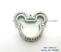 rhinestone mouse 1pcs magneti  glass living floating locket could put in floating locket charms free shipping