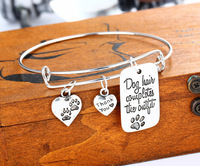 Dog Tag Pendant Special Words Fashion Dog Paw Prints Thank You Heart Charms Bangle Bracelet Bangle Wedding Party Jewelry