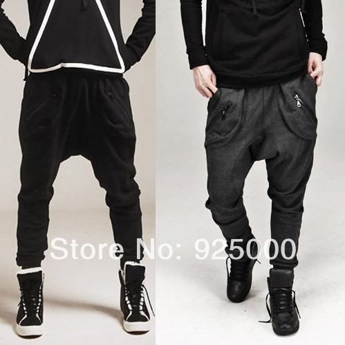 Men-Women-Harem-Baggy-Drop-Crotch-Pants-Sports-Casual-Tapered-Sport-Hip-Hop-Dance-Trousers-Slacks