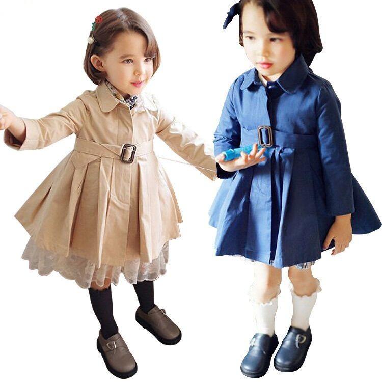 EMS-DHL-Free-Shipping-Little-Girls-Toddlers-Girls-2015-Fall-Belt-Coat-Long-Coat-Jacket-Beige
