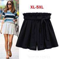Elastic Waist Casual Shorts Fashion Bow Chiffon Loose Shorts 2015 Summer Women Plus Size 5XL Clothing Short Pant Trousers White