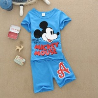 Retail 1 set Child's clothing sets kid boys girls high quality cotton short sleeve t-shirt + short pants LittleSpring GLZ-T0245