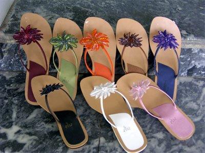 Beads N Sequins Flower Flip Flop Thong Sandals - Open Sandals (Girls)