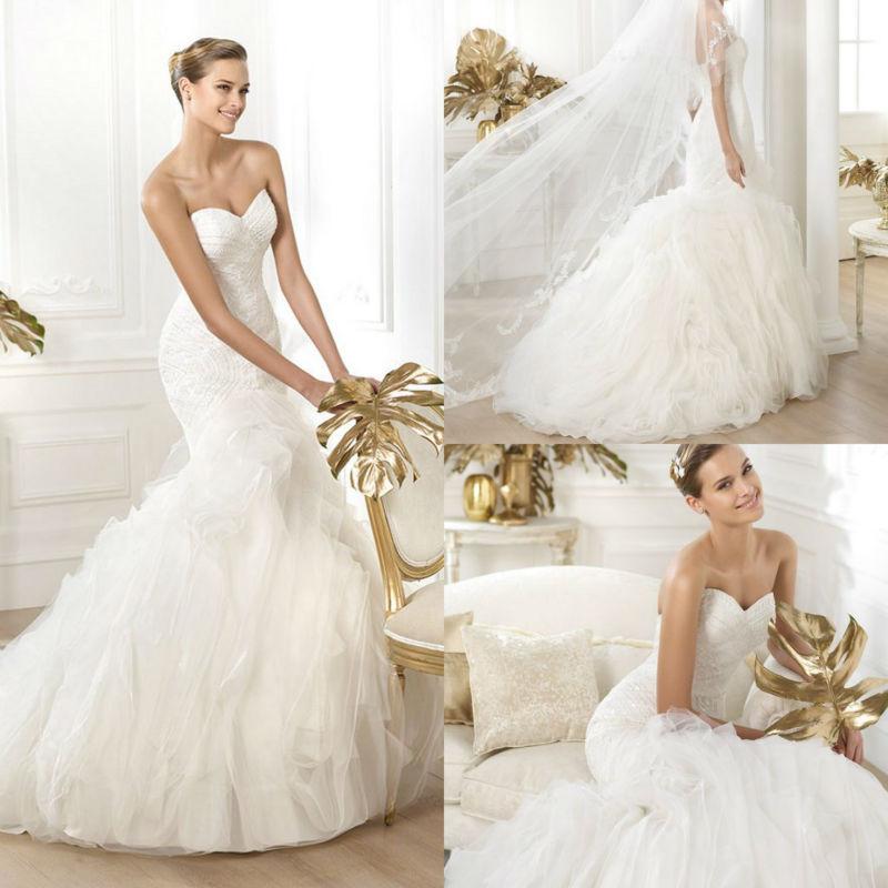 Fishtail Wedding Dress With Ruffles : New arrival organza fishtail wedding dress with