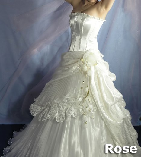 Wedding Dress White Rose Fashion