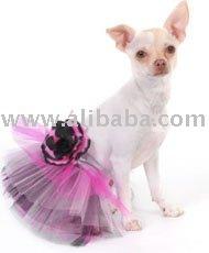 Tutu do cão de Tulle da roupa do fato do cão de animal de estimação com vestido da flor
