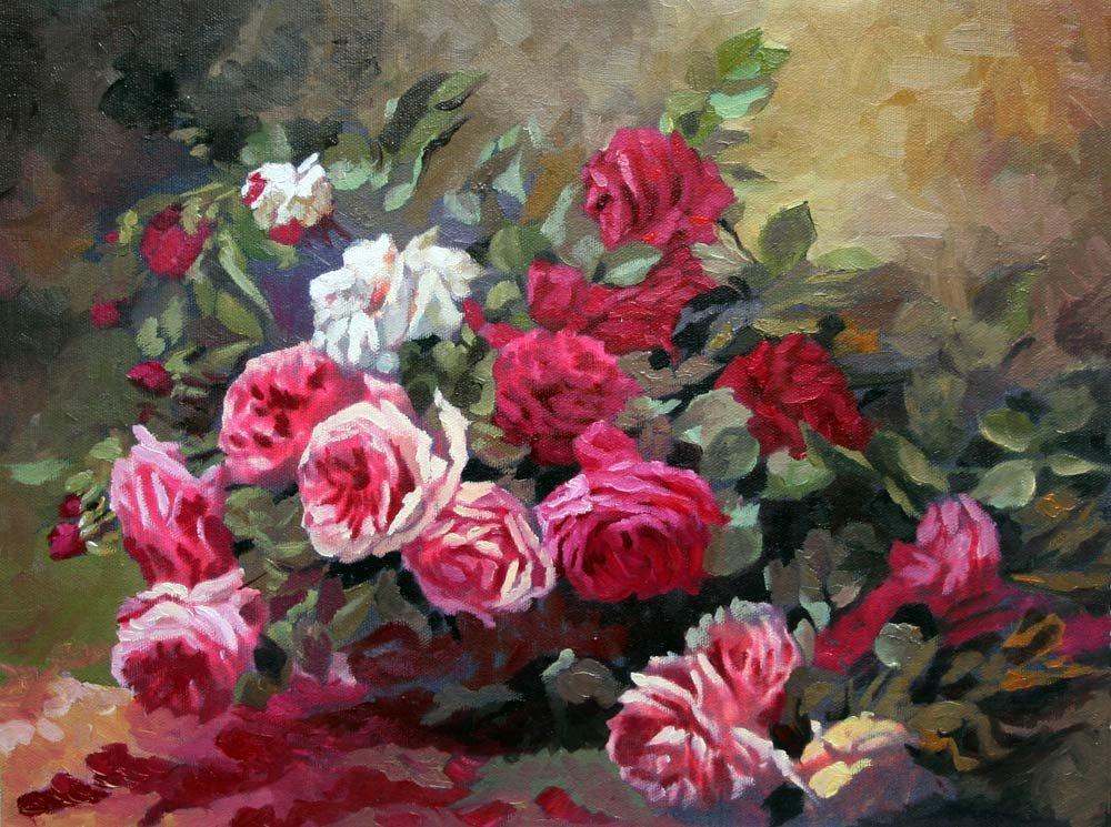 pittura a olio di fiori pittura e calligrafia id prodotto