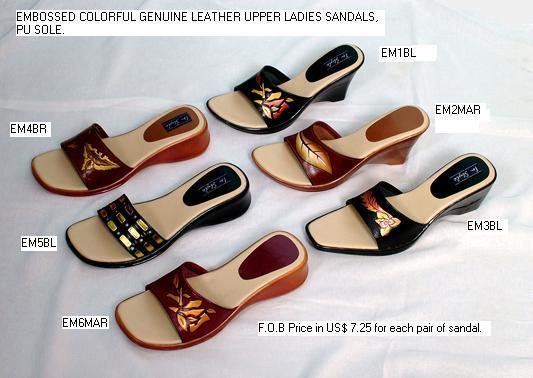 Ladies Sandals Embossed Leather - Sandals