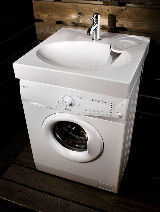Risparmio di spazio extra piatto lavandino del bagno for Lavabo sopra lavatrice