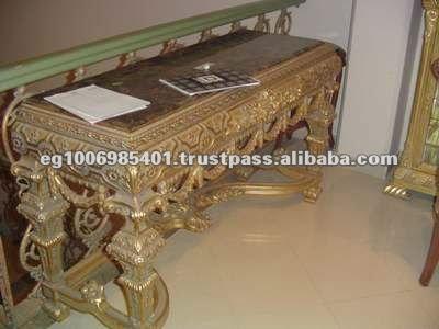 antiken gold konsole tisch mit marmorplatte holzschrank. Black Bedroom Furniture Sets. Home Design Ideas