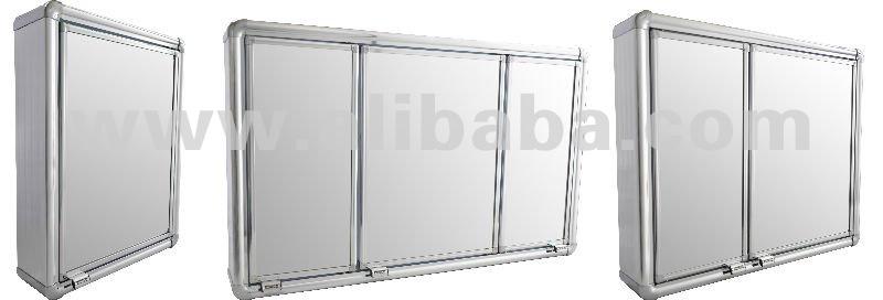 de alumínio do banheiro do armário com espelho e dentro de prateleirasOutros -> Armario Banheiro Aluminio Astra
