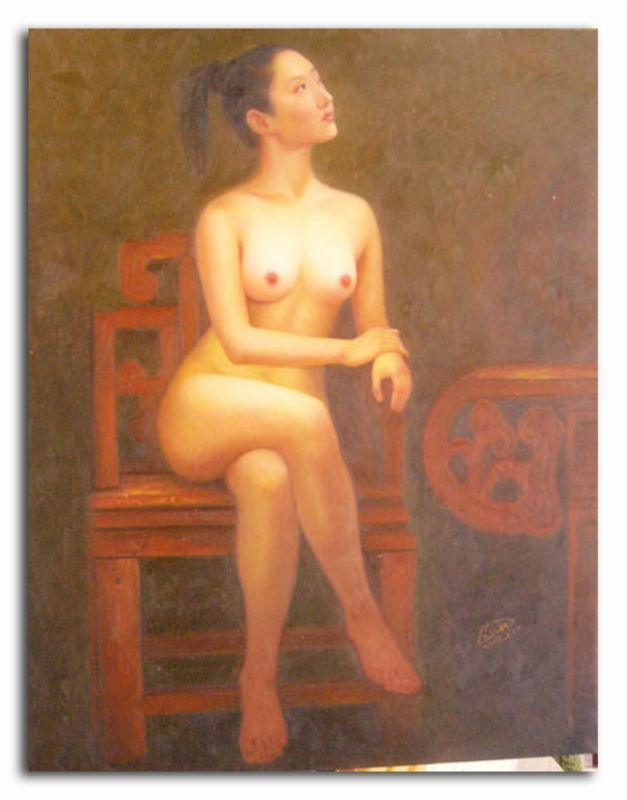 Mulheres Nuas Na Cadeira De Pinturas Parede Pintura E Caligrafia Id