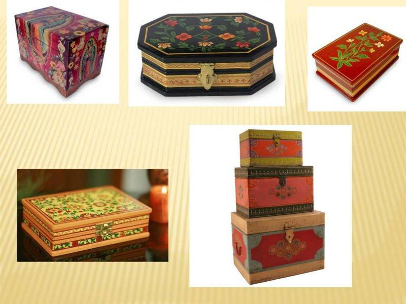 Pin cajas fibrofacil pintadas artesanales mano genuardis for Cajas pintadas a mano