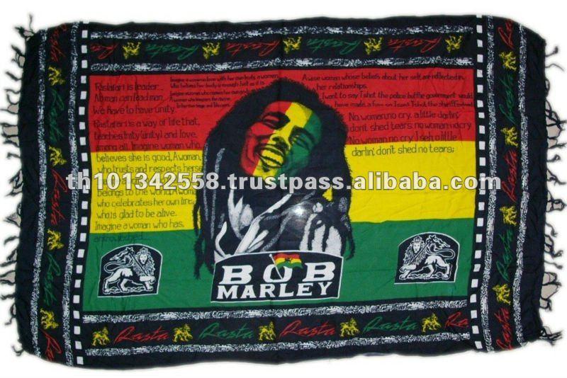 Bob marley sarong. Reggae sarong saia. Pareo da praia.
