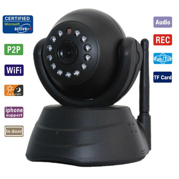 camera sans fil wireless wifi ip ir vision nocturne audio webcam design noir ebay. Black Bedroom Furniture Sets. Home Design Ideas