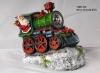 Resin Santa Claus On Train With Solar Spot Light