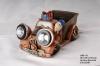 Resin Santa Claus Driving Car With Solar Spot Light