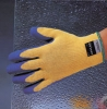 10G Machine Knit Kevlar Gloves With Blue Latex Palm Coating