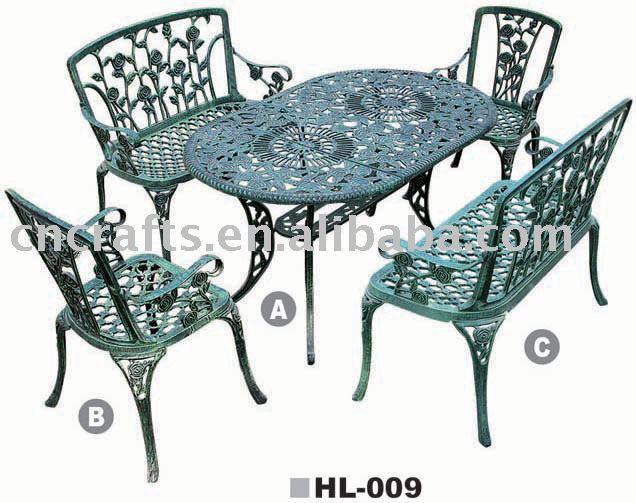 Patio en fonte d 39 aluminium ensembles patio meubles de for Table exterieur fonte