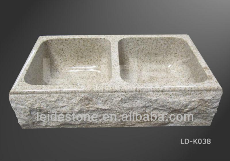 R stico de dos tazas fregadero de la cocina fregadero de - Fregaderos de piedra ...
