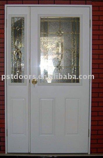 De metal de vidrio de la puerta con la jamba de madera for Puertas de metal con vidrio