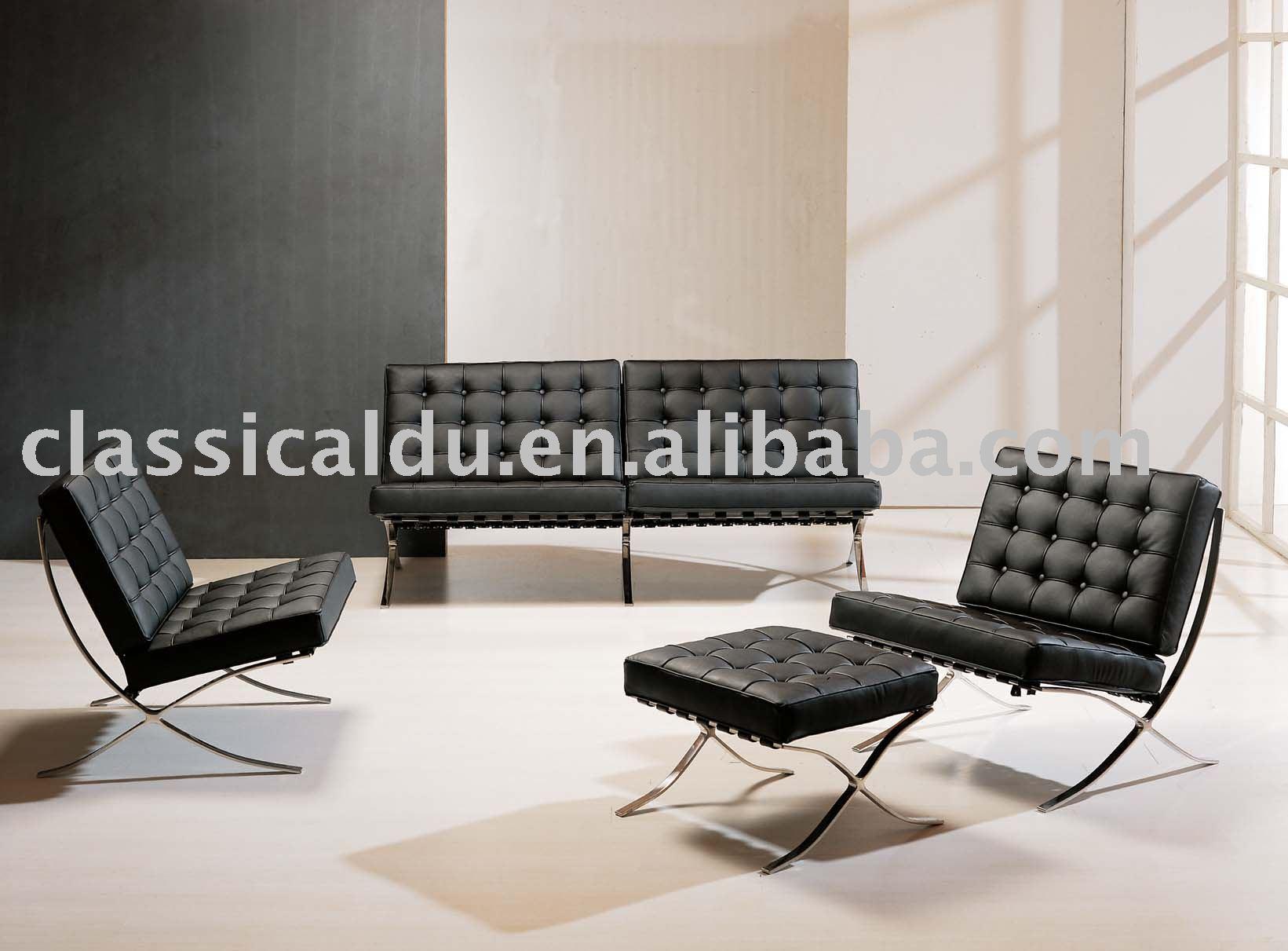 Cuero moderno sof barcelona sofa lounge chair sf 505 for Sofas modernos barcelona