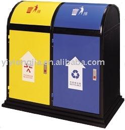 M tal double ext rieure poubelle poubelle ordures for Grande poubelle exterieur