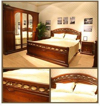 Muebles clásicos del dormitorio, cama clásica moderna, cama de madera, casa del bella