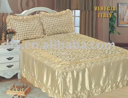 luxe main fait 3 pcs satin couvre lit ensemble couvre lit id du produit 301065662. Black Bedroom Furniture Sets. Home Design Ideas