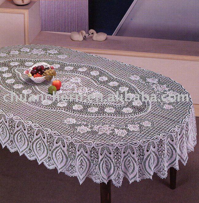 Вязанная скатерть для овального стол