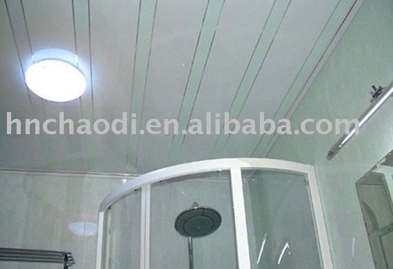 Banho popular decorado painéis de pvc projeto teto na casa de banhoPlacas pa -> Banheiro Decorado Com Pvc