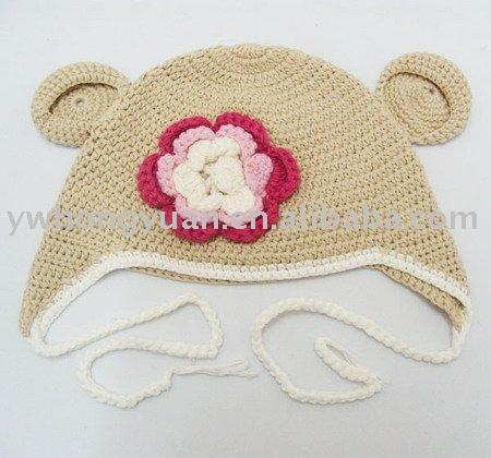 Sombreros De Las Gorritas Tejidas De La Flor De Las Muchachas Del