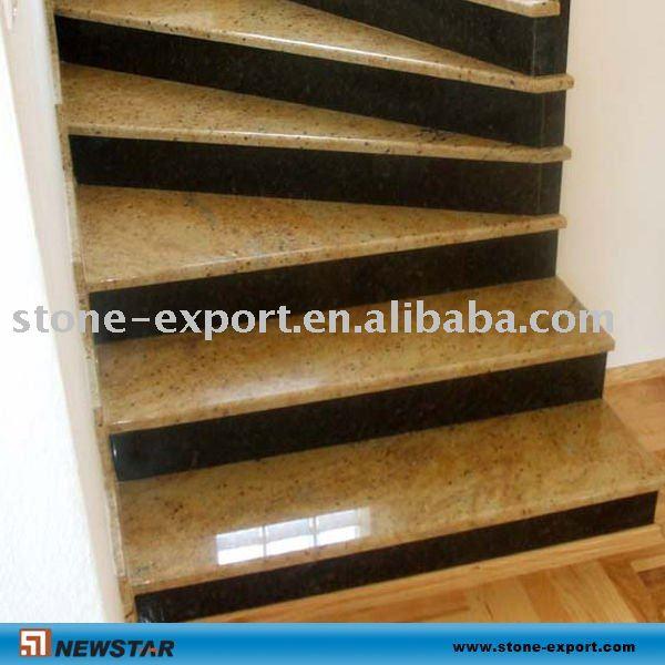 Granito de oro de la banda de rodadura escalera de piedra - Peldanos de marmol ...