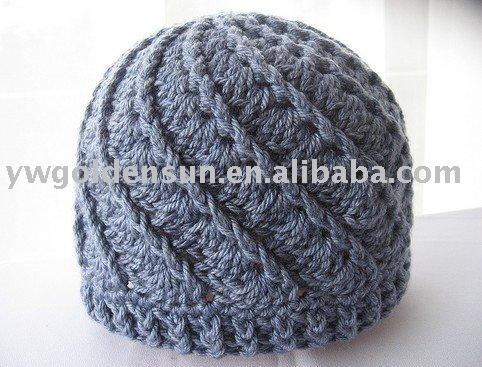 Los hombres de moda crochet gorros de invierno sombrero patrón (81267