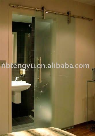 Porte coulissante en verre de salle de bains portes id du for Porte coulissante salle de bain verre