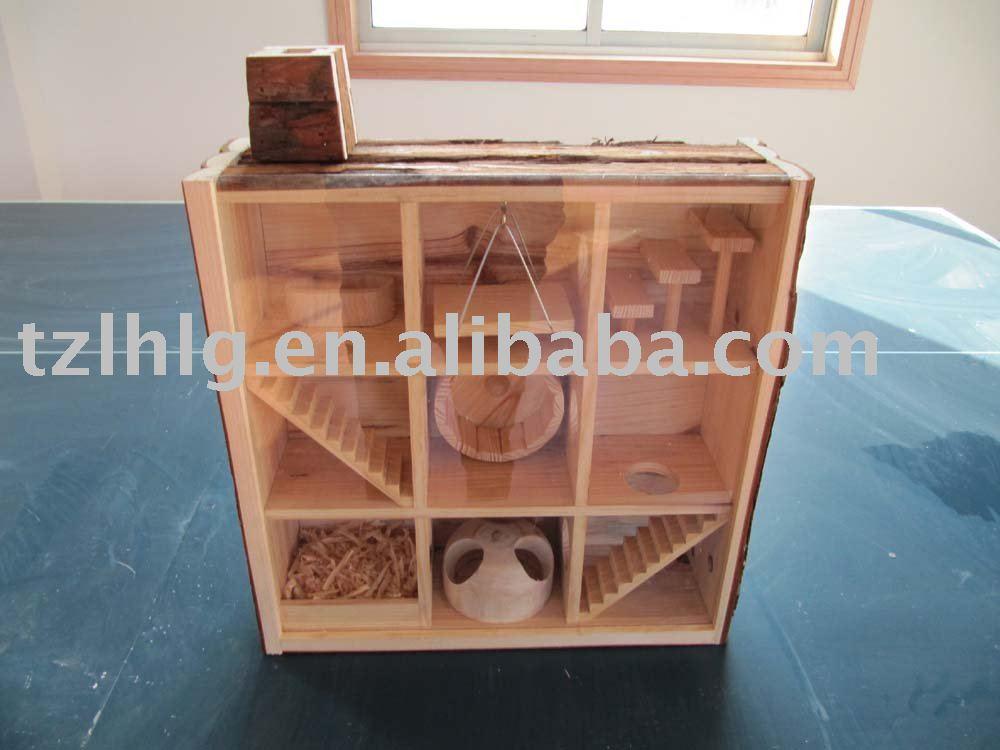 صنع قفص للوبر او الهامستر  Observable_Wooden_Hamster_House_With_Playground