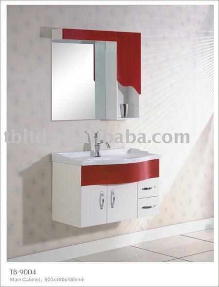 Vermelho e branco MDF armário do banheiroPenteadeiras para banheiroID do pr -> Banheiros Decorados Em Vermelho E Branco
