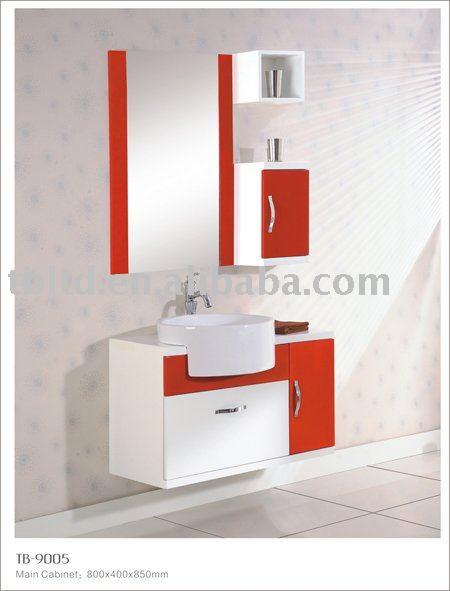 Vermelho e branco wall hung MDF armário do banheiroPenteadeiras para banheir -> Gabinete De Banheiro Vermelho E Branco