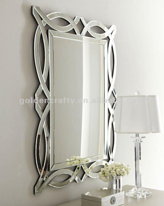 Art Deco Espejo De La Pared  De Cristal De Vidrio Espejo