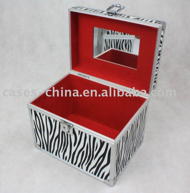 Aluminium zebra maquillage beaut vanity avec miroir sacs for Miroir zebre