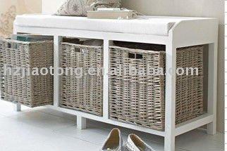 banc de rangement avec 3 en osier tiroirs tabourets et bancs id du produit 457381580 french. Black Bedroom Furniture Sets. Home Design Ideas