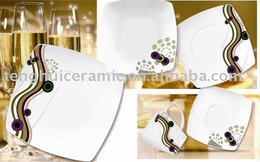 Platos cuadrados conjunto cena fina porcelana conjunto for Platos cuadrados de porcelana