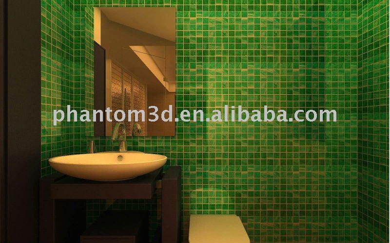 Piastrelle bagno verde beautiful bagno con pavimento di piastrelle a scacchi e le pareti di - Bagno mosaico verde ...